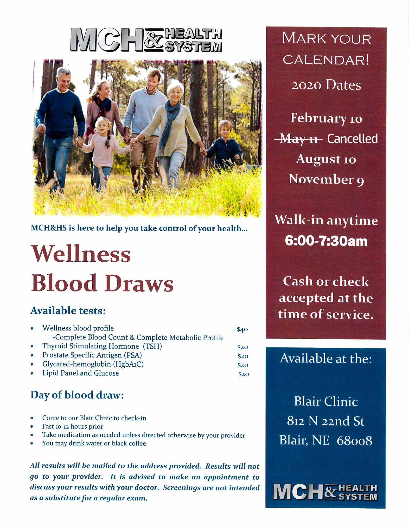 MCH&HS Wellness Blood Draws Update