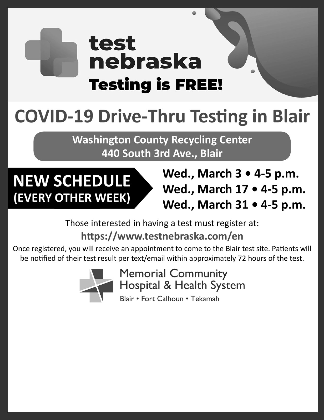 MCHHS Covid Test Dates March 2021