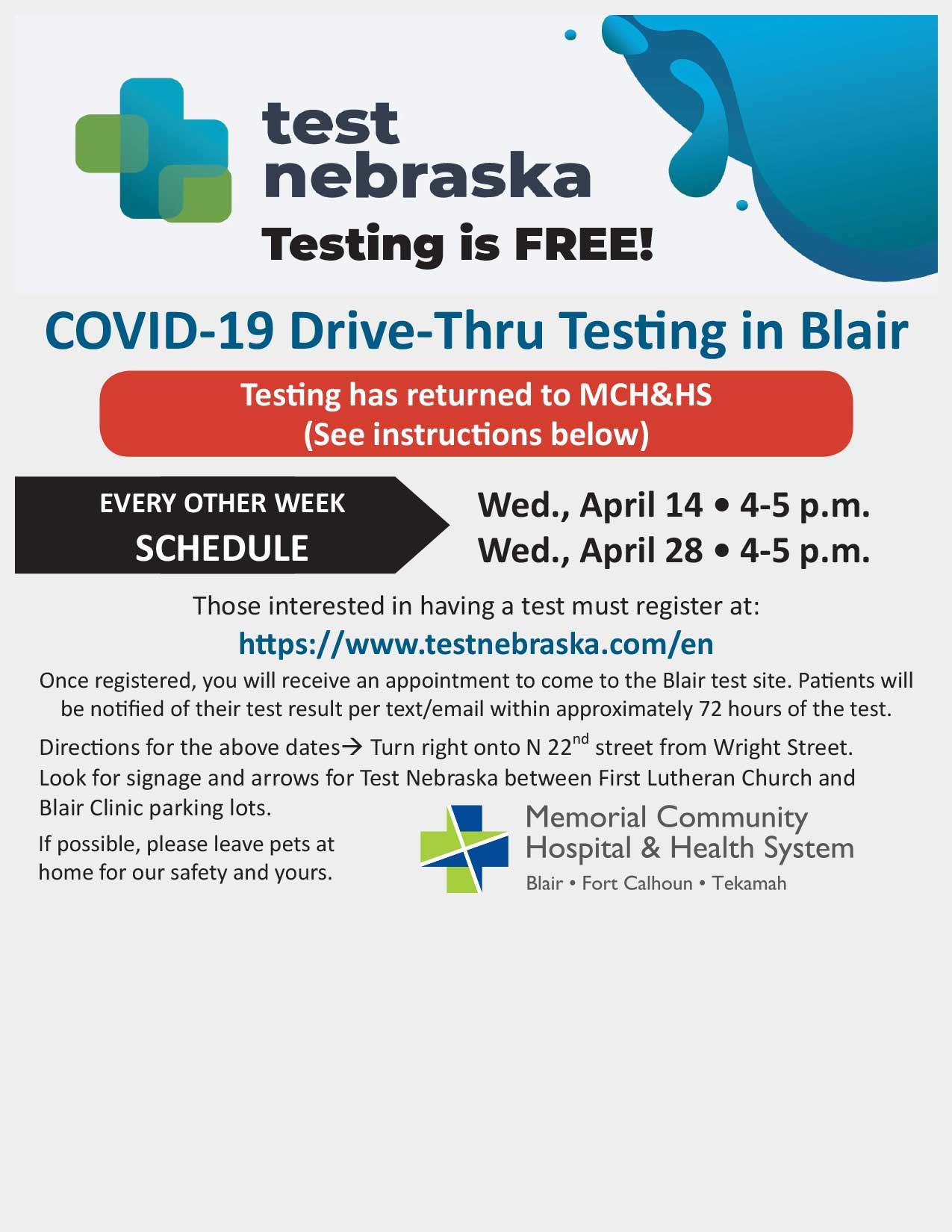 MCH&HS Covid Test Dates April 2021